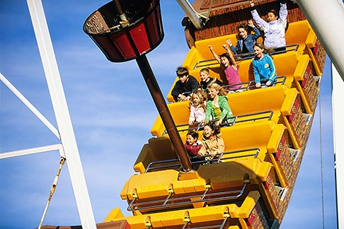 children ride on a pirate ship ride